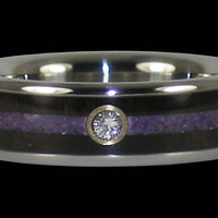 Diamond Titanium Ring with Purple and Black Inlays – Hawaii Titanium Rings