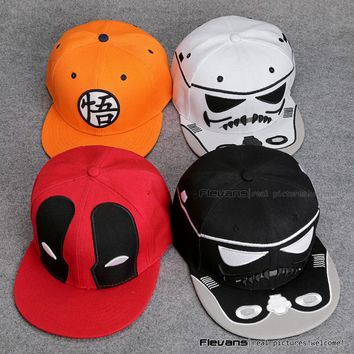 Star Wars Deadpool Dragon Ball Snapback Caps Cool hat Adult Letter Baseball Cap Bboy Hip-hop Hats For Men Women ANHT092