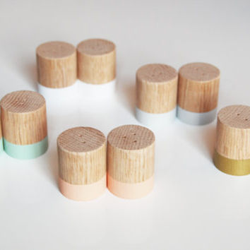 Mini Wood Salt and Pepper Shaker Set | Choose your color | Wedding Table Salt and Pepper | Kitchen Decor | Hostess Gift