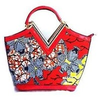 Textured African  Buckle Top Handle Satchel Red