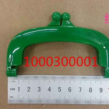 Free Shipping-6PCs Green Bead Purse Bag Plastic Frame Kiss Clasp Lock Handle 10cm DIY Handmade Bag Parts Accessories J2553