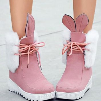 New Pink Round Toe Wedges Lace Fashion Ankle Boots