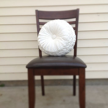 Handmade Home Decor Smocked Ivory Round Pillow by MeBotique