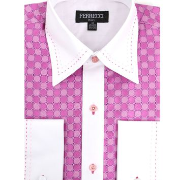 Ferrecci Men's Satine Hi-1020 Fuchsia Circle Pattern Button Down Dress Shirt
