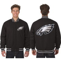 Philadelphia Eagles Wool Jacket with Embroidered Logos - Black