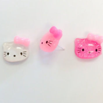 Hello Kitty Earrings,Hello Kitty Jewelry,Gifts Under 5,Little Girl Jewelry,Daughter Jewelry,Hello Kitty Stud Earrings,Hello Kitty