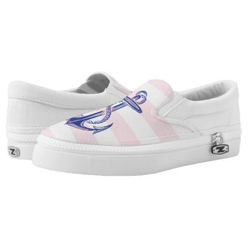 Blue Vintage Anchor Pink White Stripe Shoes Printed Shoes