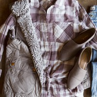 Cheyenne Plaid Flannel, Dusty Mauve