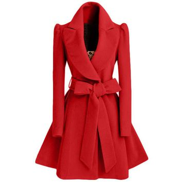 Woolen Blend Tunic Trench Coat