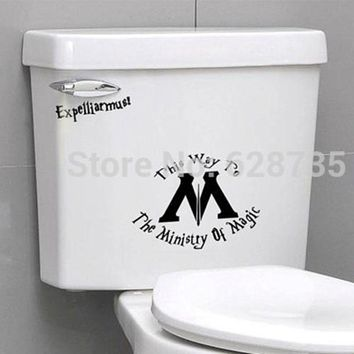 2Pcs Ministry Of Magic Bathroom Wall Sticker Toilet Seat Sticker - Funny Harry Potter Toilet Seat Vinyl Decal Stickers