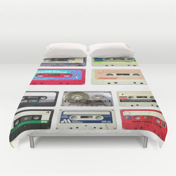 funny geeky colorful cassette tapes vector art Duvet Cover by Chicelegantboutique
