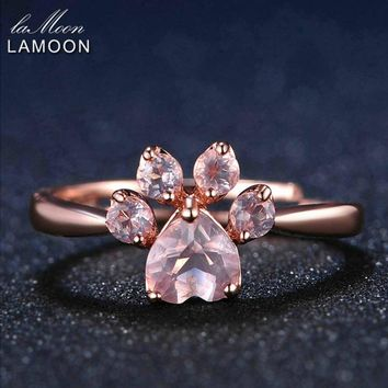 LAMOON Fine Jewelry Women Body Rings Adjustable Animal Paw 5mm 925 Sterling Silver Romantic 100% Natural Pink Rose Quartz Ring