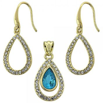 Gold Layered Earring and Pendant Adult Set, Teardrop Design, with Crystal, Gold Tone