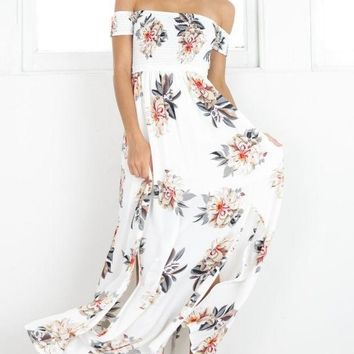 VONEFC2 Print Hot Sale Wrap Floral Prom Dress One Piece Dress