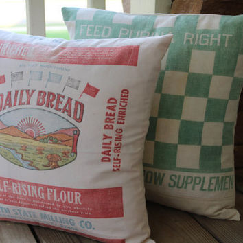 Vintage Flour Sack Pillow  Daily Bread  by catnapcottage on Etsy