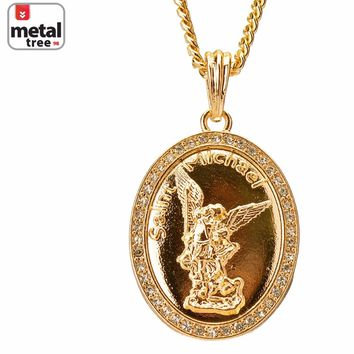 "Jewelry Kay style Men's Oval Saint Michael Angel Pendant 4 mm Cuban 30"" Chain Necklace Set MP 117"