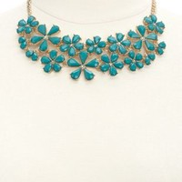 Floral Gem Statement Bib Necklace by Charlotte Russe - Gold