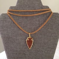 SUEDE ARROWHEAD CHOKER Handmade Brown Suede 3 String Choker with Arrowhead Pendant