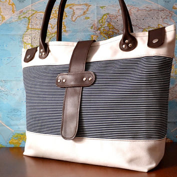 Canvas Leather Tote, Large Beach Tote, Nautical Canvas and Leather Tote Bag, Beach Bag, Shoulder Bag, Large Tote, Diaper Bag