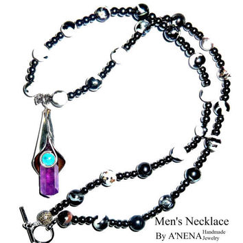 "Men's ""Prosperity"" Necklace Machu Picchu 15th Century Inspired Black,White Rare Zebra Jasper Fire Opal, Sterling Silver, Amethyst, Hematite"
