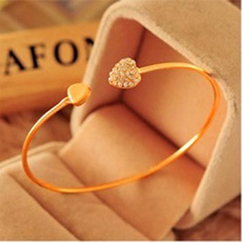 Girl Simple Love Heart Rhinestone Open Bangle Bracelet