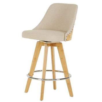 Nala Fabric Bamboo Swivel Counter Stool Stokes Linen