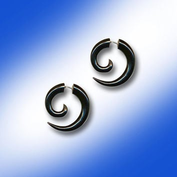 Small Tribal Spirals - UNISEX Fake Gauges -  Blackd Horn Earrings