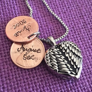 Urn Memorial cremation Jewelry Necklace - Remembrance Necklace - Sympathy Gift - Memorial Necklace - Angel Wing Pennies from heaven