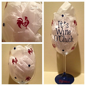 Personalized Wine, Custom Wine. Wine Glass, Rooster Wine Glass