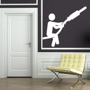 Large Vinyl Decal Abstract Image Man Battery Charger Computer Wall Sticker (n606)