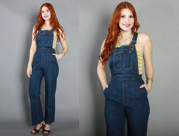 70s Fitted DENIM OVERALLS / 1970s Dark from Lucky Vintage Seattle