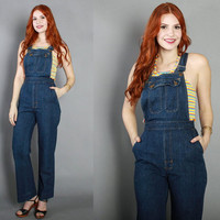 70s Fitted DENIM OVERALLS / 1970s Dark Blue Bell Bottom Jeans Jumpsuit