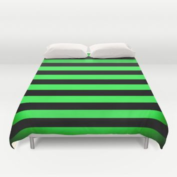 Stripes Green & Black Duvet Cover by SimplyChic