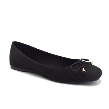 Ballet Flats Shoes Women Black Suede Ballerina Flats Square Toe With Bow Tie Autumn Comfortable Fashion