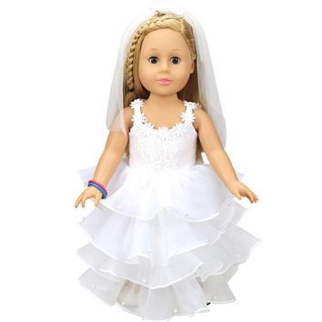 Wedding Doll White Communion / Wedding Dress For 18 inch Our Generation American Girl Doll