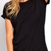 ROMWE | Hollow Wing Back Black T-shirt, The Latest Street Fashion