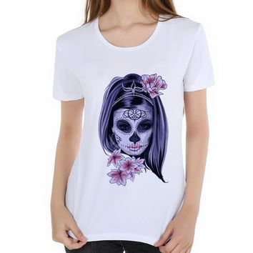 Voodoo Skull Design tee shirt sweet skull cool gothic Casual Top