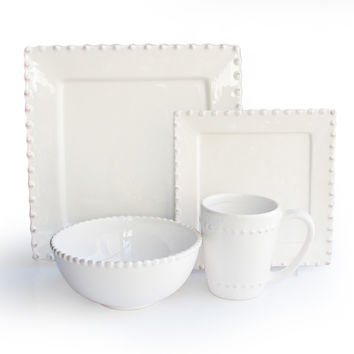 Bianca Bead White Square 16-piece Dinnerware Set | Overstock.com Shopping - The Best Deals on Casual Dinnerware