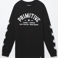Primitive Export Long Sleeve T-Shirt - Mens Tee - Black
