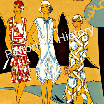 The Great Gatsby art deco Paris flappers print photograph vintage fashion illustration 11 x 14 wall art 1920's boho