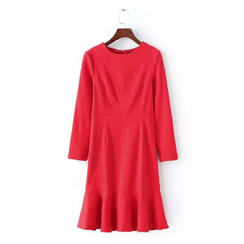 Stylish Round-neck Long Sleeve Lace Slim Women's Fashion Dress One Piece Dress [4920479044]