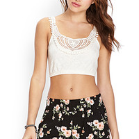 FOREVER 21 Lace & Crochet Crop Top Cream