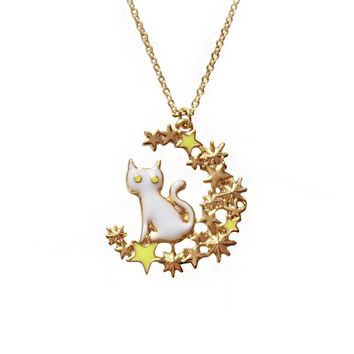 Japanese anime Luna Cat NecklaceS Metal Enamel Cartoon Animal Lovely Cat Sailor Moon Stars Children Girls Kids Pendant Necklace