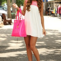 Rays Of Sunshine Dress: White/Neon Pink