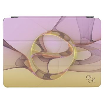 Abstract Modern Light Pink Yellow Fractal Monogram iPad Pro Cover