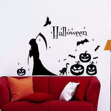 wall decals halloween grim reaper bats black cat evil pumpkin ho