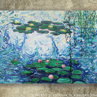 """Original Acrylic painting Claude Monet's Water Lilies """"Giverny 2"""" Huge wall art on canvas by KSAVERA decor for Lounge sleeping room bedroom"""
