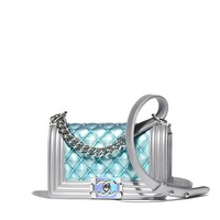 Small BOY CHANEL Handbag, pvc, metallic lambskin & silver-tone metal, blue - CHANEL