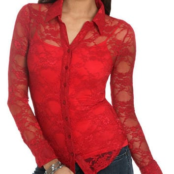 Structured Lace Shirt | Shop Just Arrived at Wet Seal