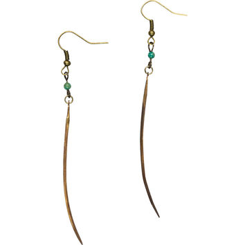 Crow Jane Jewelry Brass Spike Earrings with Turquoise One Color, One